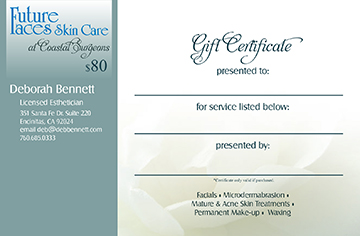 Facial gift certicate in Encinitas